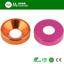Color Anodized Aluminum Polished Countersunk Cup Washer