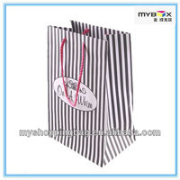 Black and white stripe special paper bag gift bag with handles