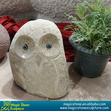 Wild Large Owl Granite Sculpture