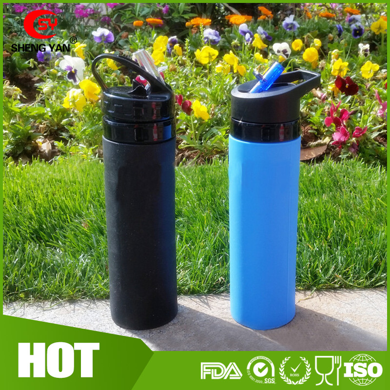 new design outdoor sports silicone recycled foldable water drinking bottle wholesale