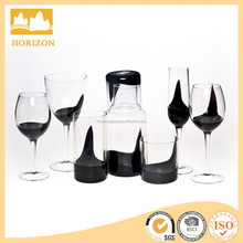 Mouth Blown Crystal Glass Black Crafted glassware set drinking/drinking glass/glass water jug set
