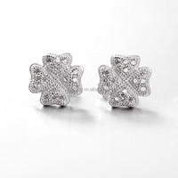 LIXIN 925 sterling silver mirco four leaf clover stud earrings (LDE083-ZE)