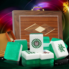 Green Glitter Crystal Mahjong Set with Wooden Box