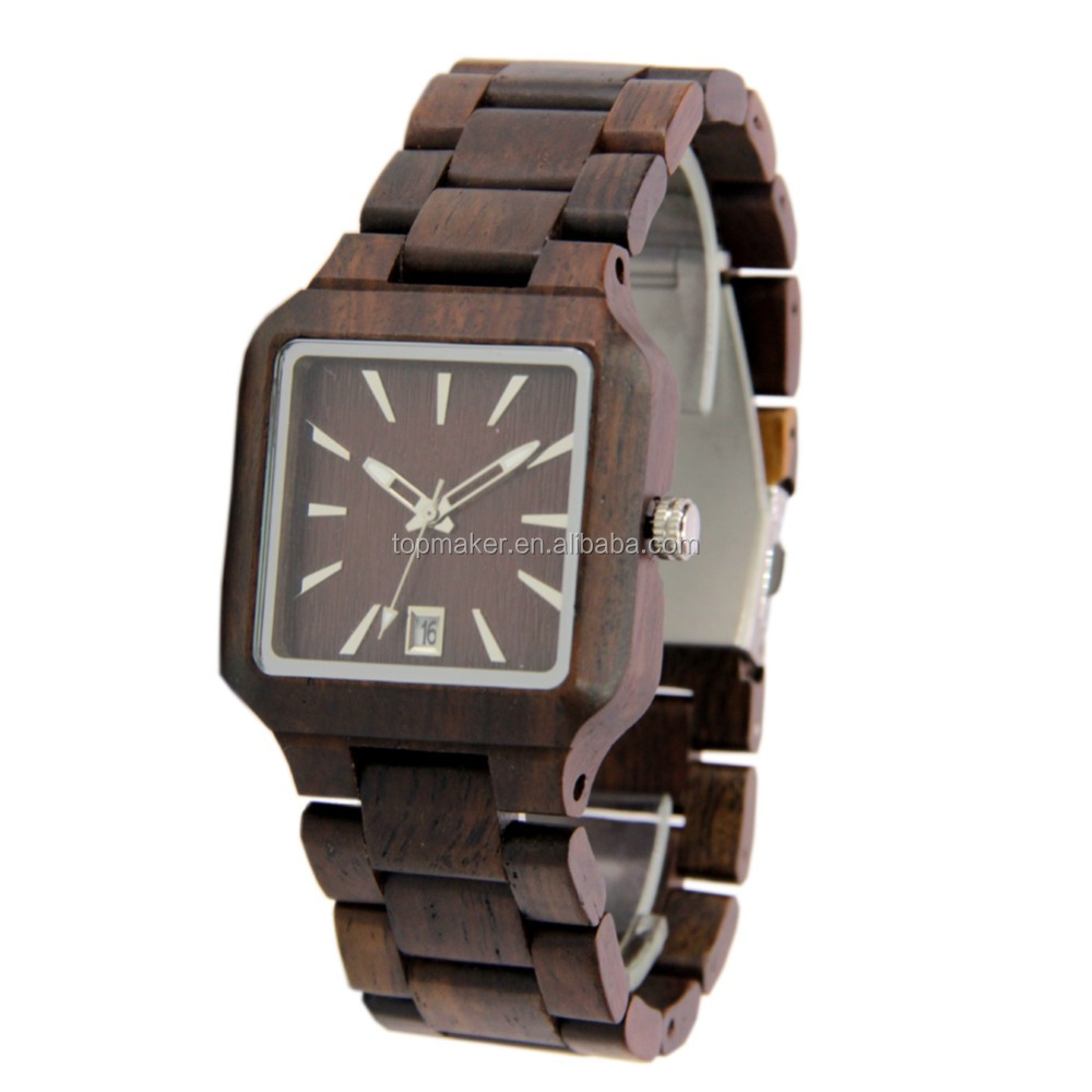 Square Shaped Mens Wooden Watch Japan Quartz Watch with Date