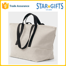 Natural Grid Color Custom Durable Large Reusable Weekend Bag For Men