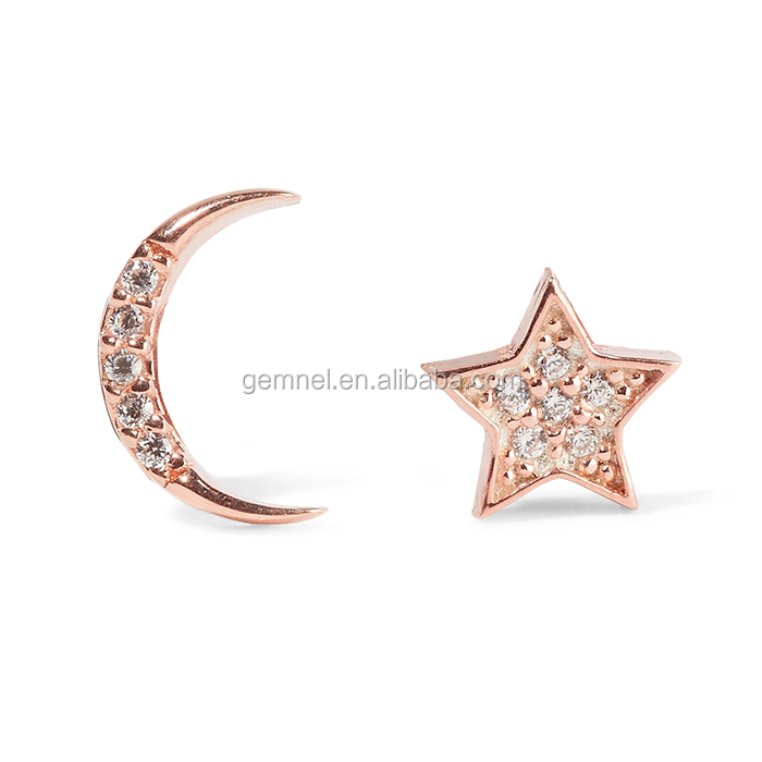 Moon and star earrings stud rose gold plated earrings cheap diamond earrings