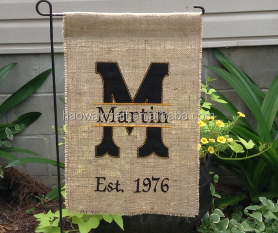 Monogrammed garden yard burlap flags blank embroidered cheap wholesale flags