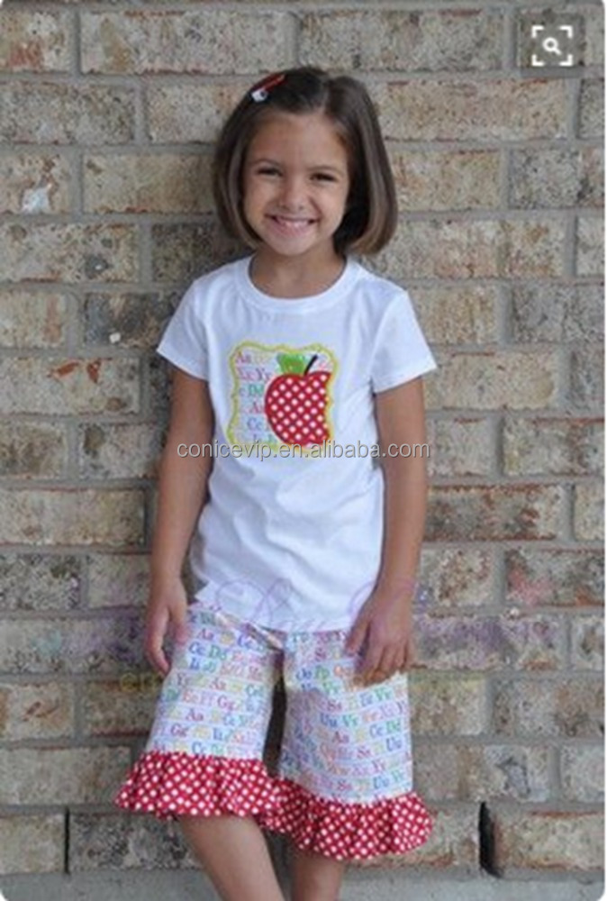 2017 Summer Teen Girl Clothing Set Apple Back To School Boutique Kids Girls 2pcs Cotton Summer