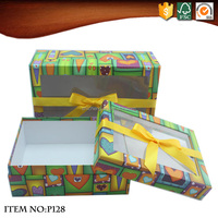 Ribbon Cardboard Gift Boxes with Clear Window Lid
