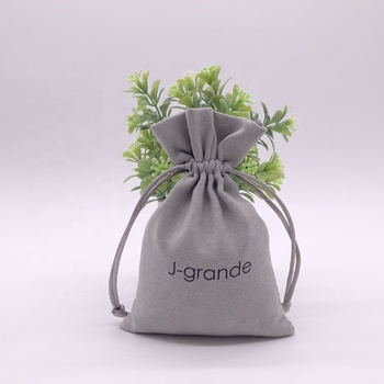 Soft Drawstring Suede Jewelry Bag With Logo