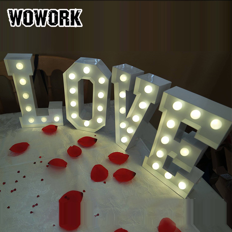 3D illuminated battery operated marquee lights fancy lights for home SEDEX XMAS decoration marquee metal letter