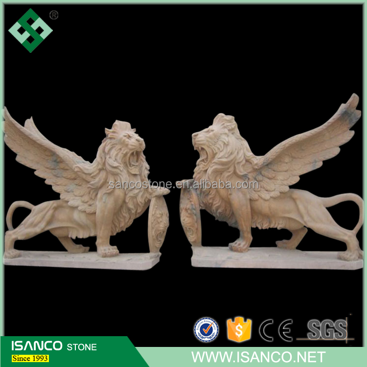 Home Decor Antique Sculpture Art Modern Statue Fly Lion Stone Sculpture Beautiful Animal Collectibles Statue