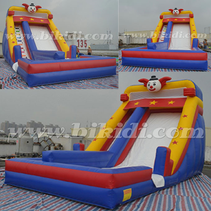 Funny clown big inflatable water slide, used inflatable water slide for sale B4119