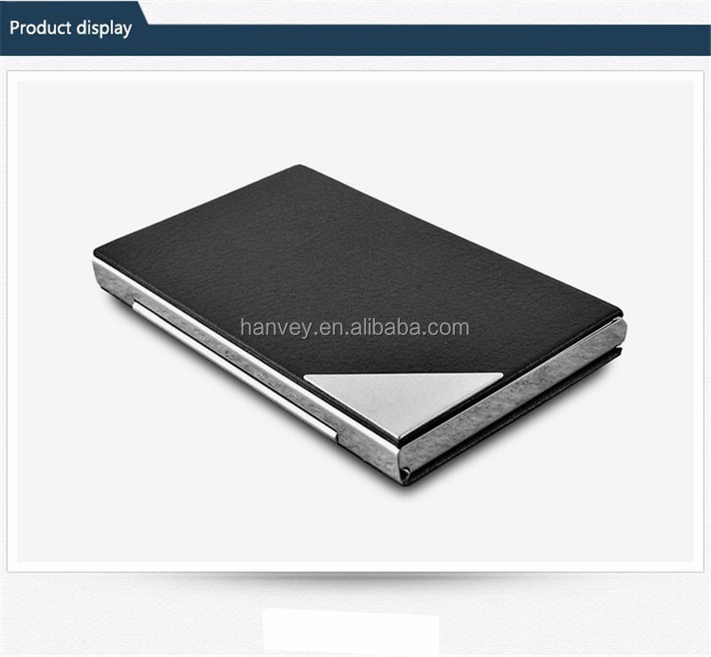 Hot Pu Leather Metal Stainless Steel Frame Business Name ID Cards Organizer Case - Black
