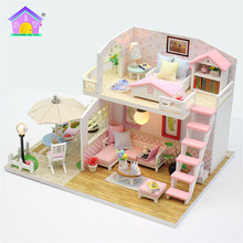 Handcrafted diy wooden miniature wooden house toy with led dollhouse handcraft 3d kit