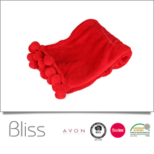 Hot selling new style 100% polyester solid coral fleece blanket pom pom blanket