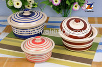 Fashion ceramic hand painted color stripe cover pot 3pcs set or ceramic bow with lid