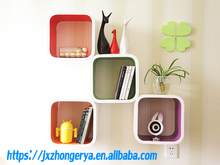 Home Decor Colorful MDF mounted Floating cube wall shelf