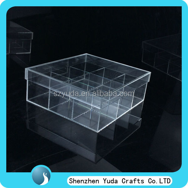 Professional clear acrylic tea bag coffee bag display box with cover and 9 compartments, custom made lucite tea storage box