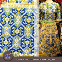European brand 100% multicolor royal and classical polyester cotton geometrical lady embroidery thread dress design dress fabric