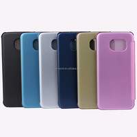 6 colors optional full UV semi transparent leather flip case for samsung galaxy s6