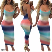 rainbow color stripes print tank pencil maxi dress women clothing dresses