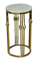 Golden Stainless steel plant stand pot stand with marble top