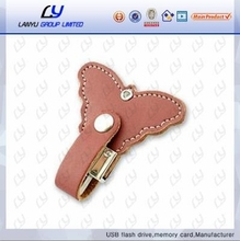 Wedding gift bulk Cheap popular creative gadgets custom logo cute butterfly shape bulk leather 128mb usb flash drives