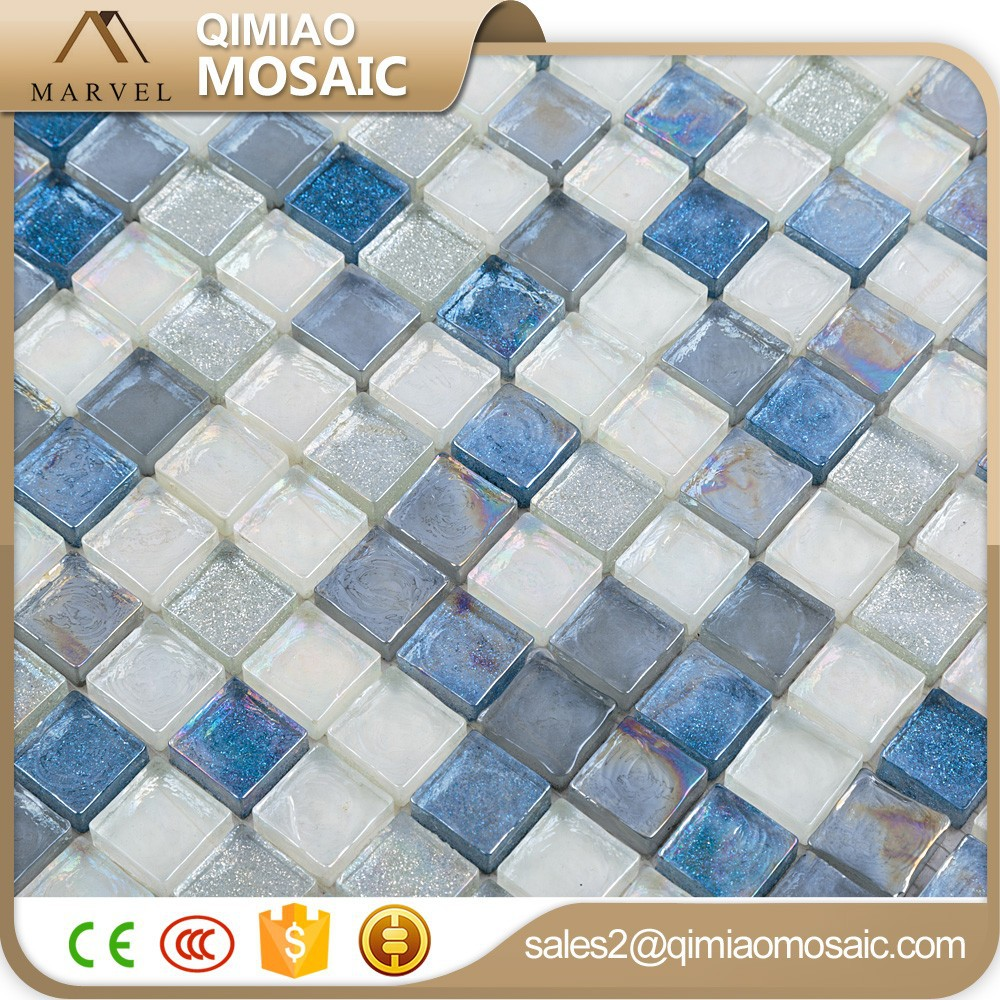 Symphoney Rainbow Glitter Powder Mosaic Bathroom Floor Tiles Blue