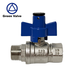Green-GutenTop Valvula Antifraude Agua Blue Aluminum Butterfly handle Brass lockable Water Ball Valve
