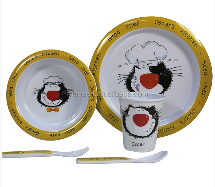 Chef Print Kiddo 5PCS Melamine Kids Ware melamine dinner set for Kid