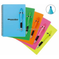 Promotional plastic cover paper noterbook with pen/cheap writing notebook