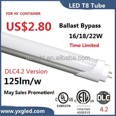indoor lighting t8 led tube al+pc housing and built-in driver, led tube t8 available ft 125lm/w
