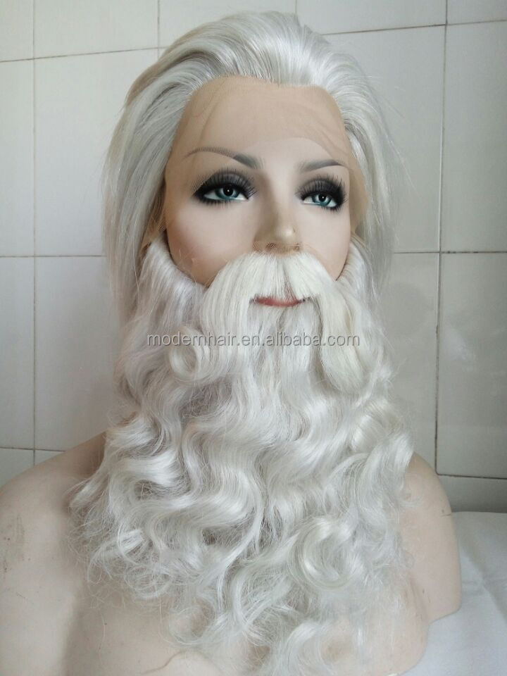 Stock yak hair christmas santa wigs off white color santa claus beard with moustache