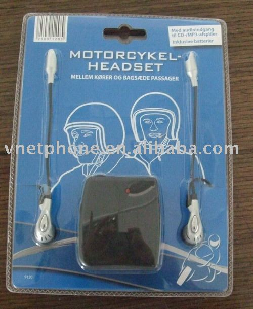 Motorcycle Rider's wired intercom compatible to portable audio system