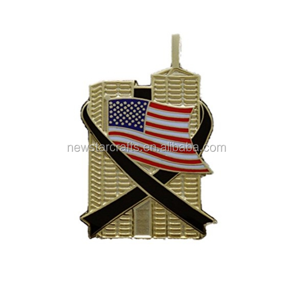 Custom gold soft enamel 911 memorial zinc alloy lapel pin