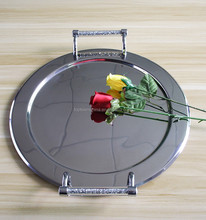Hot selling metal stainless steel food serving tray /plate dinner plate function with diamond handle