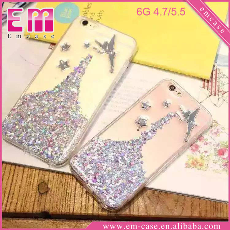 Glitter Angel Quicksand Clear Plastic Mobile Phone Case For iPhone 6/6 Plus