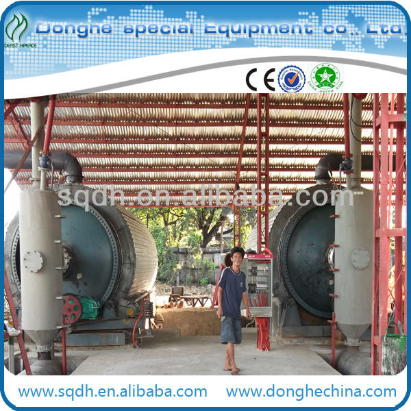 waste tyre /rubber /plastic recycling to oil machine with WJ-8 batch model of 10MT/D