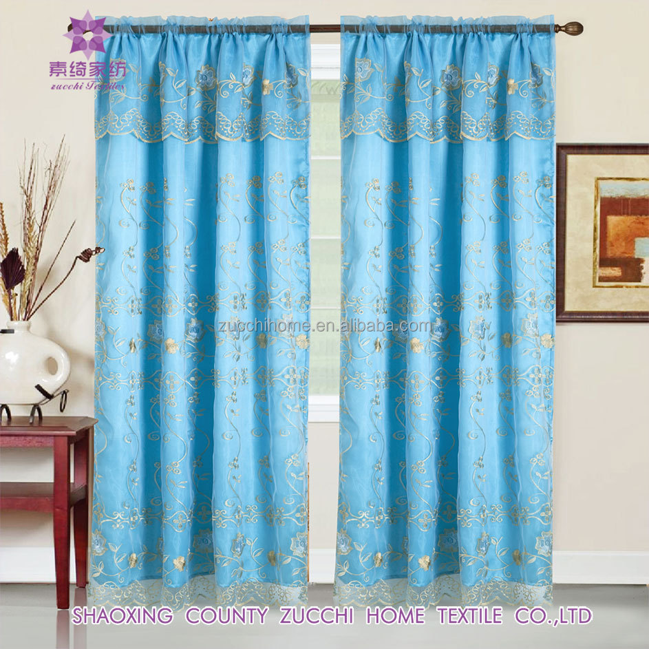 organza embroidered sheer curtain