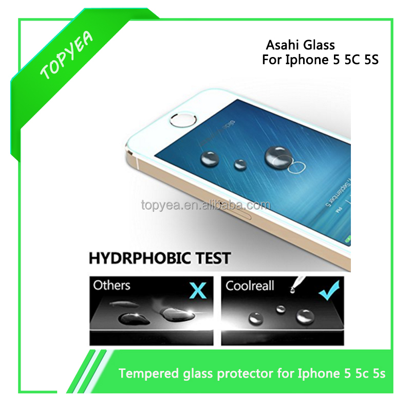 99.9% transparent high premium tempered glass screen protector for iphone 5 5C 5S