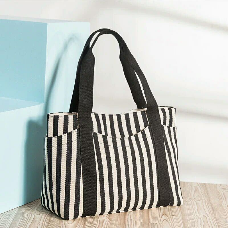 2017 hot sale stripe canvas hand bag for lady custom fashion tote bags
