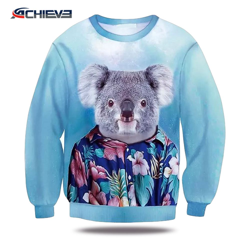 custom sublimation sweaters womens mens crew neck sweatshirts