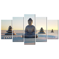 5 Pcs/Buddha in Peace Canvas Painting/Buddhist Zen Canvas Decorative Prints/Seated Joss Statue Canvas Drawing