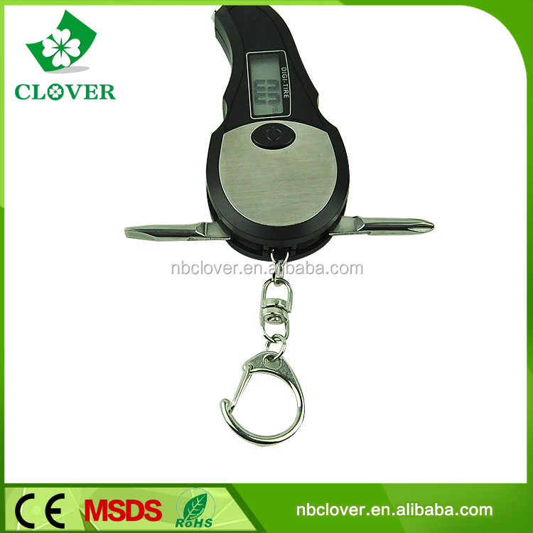 With screwdriver and keychain digital tire pressure gauge for car