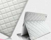 For ipad4 Grid cloth grain case; leather cover case for ipad