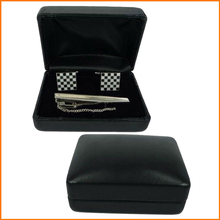 Black leather cufflink tie clips box(4015)