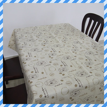 Waterproof Wipe Clean Flannel Back Peva Printed Beautiful Coffee Tablecloth