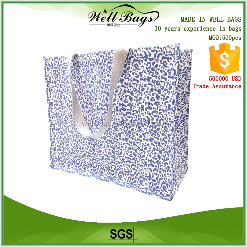 2016 new design custom non woven BOPP glitter hologram film shining laser reusable shopping tote Bag