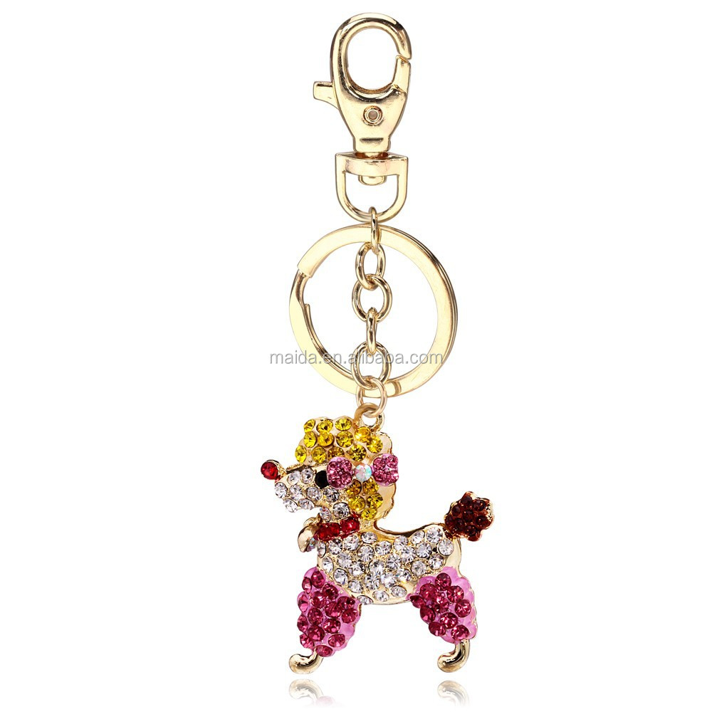 Cute charm keyring colorful teddy dog keychain, fashion make your own logo metal key chain